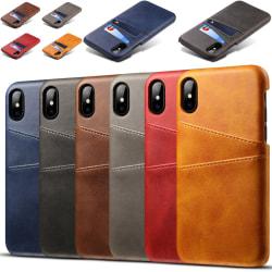 Iphone XS Max skydd skal fodral skinn läder kort visa amex - Mörkbrun iPhone XS Max