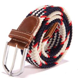 Canvas skärp, blått unisex accessoar smycke flätat bälte sommar blå/röd/vit