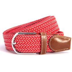 canvas skärp, vitt/rött unisex accessoar smycke flätat bälte  röd/ vit