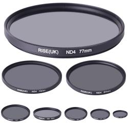 Gråfilter ND4 (4X) 49 - 77 mm. Välj storlek i listan! svart 67mm