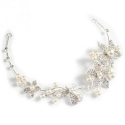 Hårdekoration, fint till fest bröllop silver med pärlor silver och pärlor
