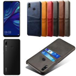 Huawei P smart 2019 skal fodral skydd skinn läder kort visa - Grå P smart 2019