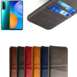 Huawei P smart 2021 skal fodral skydd skinn läder kort visa - Röd P smart 2021