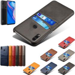 Huawei P smart Z skal fodral skydd skinn läder kort visa - Svart P smart Z