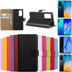 Huawei P40/P40Pro/P40lite4G/P40liteE plånbok skal fodral kort - Brun P40 Lite E