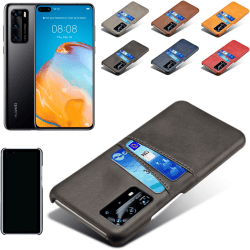 Huawei P40 Pro skal fodral skydd skinn läder kort kredit visa - Grå P40 Pro