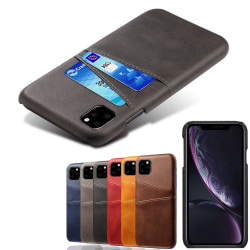 Iphone 11 Pro Max skydd skal fodral skinn läder kort visa amex - Grå iPhone 11 Pro Max