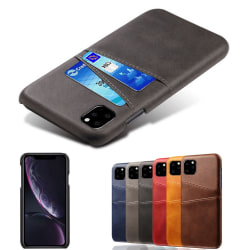 Iphone 11 skydd skal fodral skinn läder kort visa amex - Mörkbrun iPhone 11