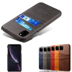 Iphone 12/12Pro skydd skal fodral skinn läder kort visa amex - Blå iPhone 12 / 12 Pro