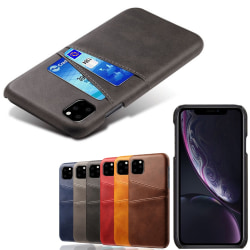 Iphone 12 Pro Max skydd skal fodral skinn läder kort visa amex - Blå iPhone 12 Pro Max