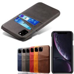 Iphone 12 Pro Max skydd skal fodral skinn läder kort visa amex - Mörkbrun iPhone 12 Pro Max
