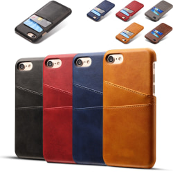 Iphone 7/8 skydd skal fodral skinn för kort visa mastercard - Ljusbrun / beige iPhone 7/8