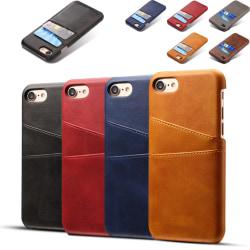 Iphone 7/8 skydd skal fodral skinn för kort visa mastercard - Röd iPhone 7/8