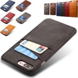 Iphone 7 Plus 8 Plus + skydd skal fodral kort visa mastercard - Svart iPhone 7+/8+