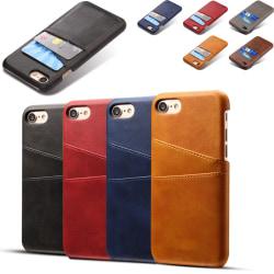 Iphone SE gen2 skydd skal fodral skinn för kort visa mastercard: Svart iPhone SE gen2 2020
