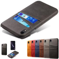Iphone XR skydd skal fodral skinn läder kredit kort visa amex - Grå iPhone XR