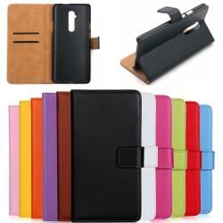 OnePlus 5T/6/6T/7/7Pro plånbok skal fodral kort enfärgade mobil: Svart OnePlus 6T