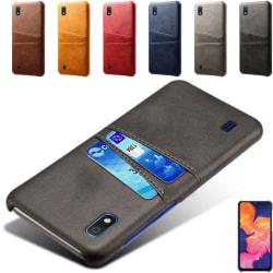Samsung A10 skal fodral skydd skinn kort visa mastercard amex - Ljusbrun / beige A10