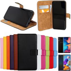Samsung Galaxy A20e/A21s plånbok skal fodral skydd pu skinn - Grön A20e