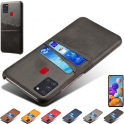 Samsung Galaxy A21s skal fodral skydd skinn kort visa amex - Svart A21s