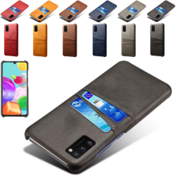 Samsung Galaxy A41 skal fodral skydd skinn kort visa amex - Svart A41