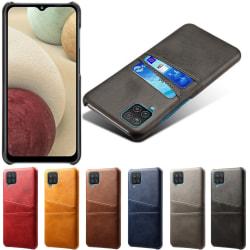 Samsung Galaxy A42 skal fodral skydd skinn kort visa amex - Ljusbrun / beige A42