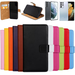 Samsung Galaxy S21/S21+/S21Ultra plånbok skal fodral skydd - Svart S21+