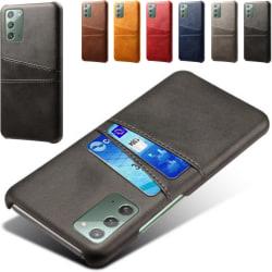Samsung Note20 skal fodral skydd skinn kort visa mastercard - Ljusbrun / beige Note20