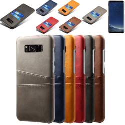 Samsung S8 skydd skal fodral skinn åt kort visa amex mastercard: Blå Samsung Galaxy S8