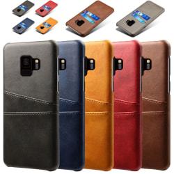 Samsung S9+ skydd skal fodral skinn kort visa amex mastercard - Röd Samsung Galaxy S9 Plus