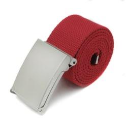 Skärp i rött canvas tyg bälte unisex justerbar längd Röd