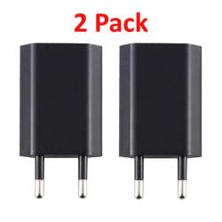 2st Laddare/Väggladdare USB till iPhone, Samsung m.fl. 1A Svart Black