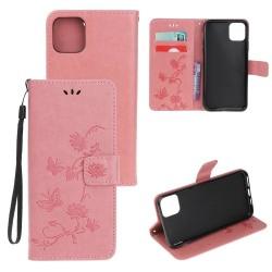 Läderfodral Mönstrat Fjärilar iPhone 12/12 Pro Rosa Pink iPhone 12/12 Pro