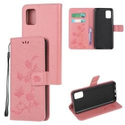 Samsung Galaxy A51 Läderfodral Mönstrat Fjärilar Rosa Pink Galaxy A51