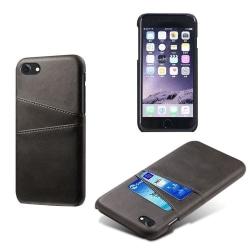 Läderskal Stötdämpande med 2 Kortfack iPhone 7/8/SE 2 Svart Black iPhone 7/8/SE