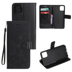 Läderfodral Mönstrat Fjärilar iPhone 12/12 Pro Svart Black iPhone 12/12 Pro