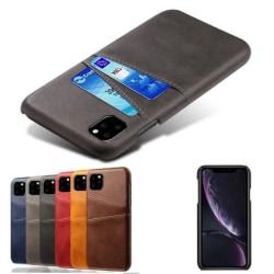 iPhone 11 Skal med kortfack Stötdämpande Läderskal Välj Färg Black Svart