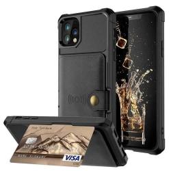 iPhone 12/12 Pro Stöttåligt Skal Korthållare RFID Skyddat svart Black Apple iPhone 12/12 Pro