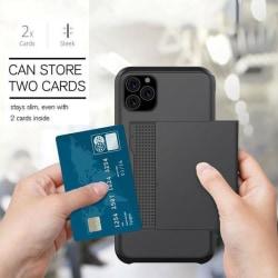 iPhone 12/12Pro Stöttåligt Skal med kortfack Extra förstärkt Väl Black Svart
