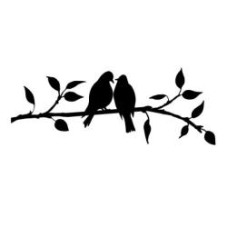 Väggdekor - Fåglar på kvist #2 svart