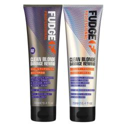 Fudge Clean Blonde Damage Rewind DUO Shampoo 250ml + Conditioner Lila