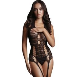 Le Désir: Opaque Bodystocking with Suspender, One Size Svart one size