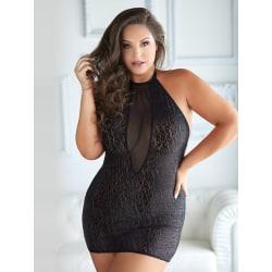 Allure Diva: Felicity Leopard & Mesh Halter Dress, svart Svart XL/XXL