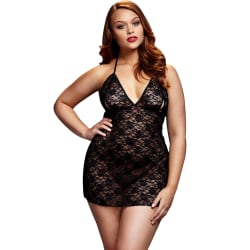 Baci: Lace-Up Babydoll, Queen Size Svart