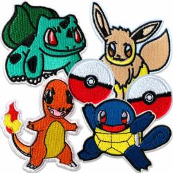 Pokémon kläder | 6-pack | Stryka-på Tygmärken