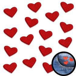 Tygmärken Hjärta | 15-pack | Stryka-på Röd 2x1,6 cm