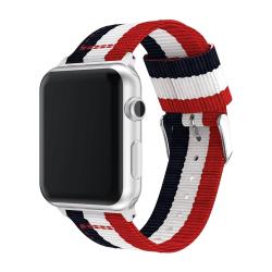 42 & 44 mm armband för Apple Watch i nylon (Blå Vit Röd)