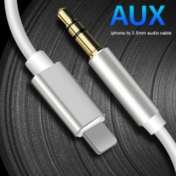 8 Pin till 3.5mm AUX Audio Adapter Kabel vit