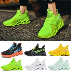 Unisex mode sneakers bekväma sulor mjuka och andas Svart Grön 39