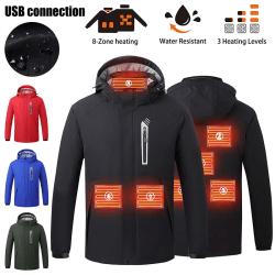USB - Eljacka Värmare Ytterkläder Vintervärmare Vattentät Svart XL